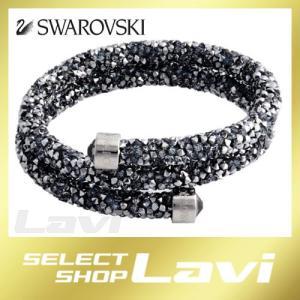 スワロフスキー 5255898 Crystaldust Double Gray クリスタルロック スパイラル バングル ブレスレット Sサイズ ラッピング無料|store-jck