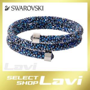 スワロフスキー SWAROVSKI 5255903 Crystaldust Double Blue クリスタルロック スパイラル バングル ブレスレット Sサイズ ラッピング無料|store-jck