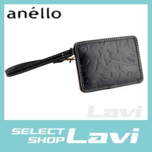アネロ anello  ZU-D0701-BK ネコシルエット型押し ストラップ付 パスケース 定期入れ 猫シリーズ ラッピング無料|store-jck