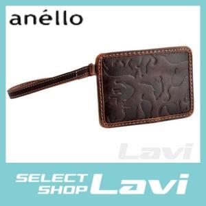 アネロ anello  ZU-D0701-BR ネコシルエット型押し ストラップ付 パスケース 定期入れ 猫シリーズ ラッピング無料|store-jck