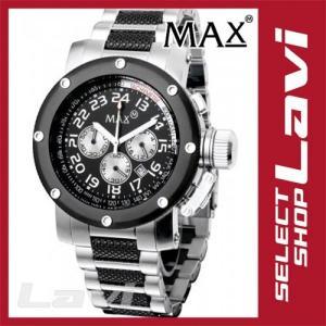 お買得◇MAX マックス 腕時計  国内正規商品 MAX483 47mm Face ブラック、シルバー ブラック、シルバー クロノグラフ ウォッチ ラッピング無料|store-jck