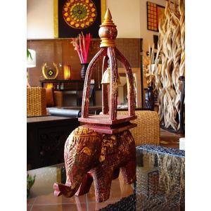象オブジェ(赤茶) タイ オブジェ 置物 インテリア アジアン雑貨 鐘付き 木製 木彫り|store-monsoon