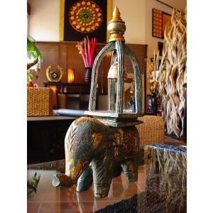 象オブジェ(緑) タイ オブジェ 置物 インテリア アジアン雑貨 鐘付き 木製 木彫り|store-monsoon