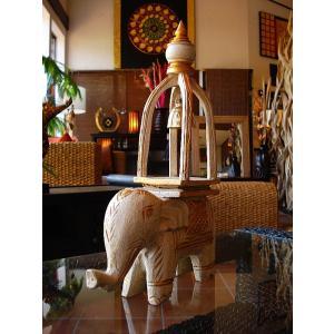象オブジェ(白) タイ オブジェ 置物 インテリア アジアン雑貨 鐘付き 木製 木彫り|store-monsoon