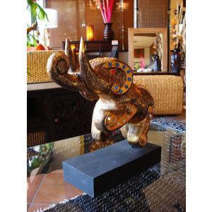 象オブジェ(黒) タイ オブジェ 置物 インテリア アジアン雑貨 木製 木彫り|store-monsoon