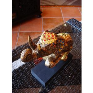 象オブジェ(黒) タイ オブジェ 置物 インテリア アジアン雑貨 木製 木彫り|store-monsoon|02