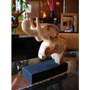 象オブジェ(白) タイ オブジェ 置物 インテリア アジアン雑貨 木製 木彫り|store-monsoon