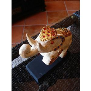 象オブジェ(白) タイ オブジェ 置物 インテリア アジアン雑貨 木製 木彫り|store-monsoon|02