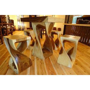 アジアンインテリア アジアン家具 バリ島 ◆ハンドメイド! ツイストテーブル&チェアー5点セット (ナチュラルカラー)◆ store-monsoon