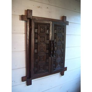 鏡 ミラー アジアン雑貨 アジアンインテリア 【チークフレーム ドア付きミラー】木製 木彫り カントリー|store-monsoon