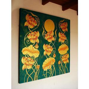 アジアンアート オリエンタルモダン絵画 蓮 壁飾り  アートフレーム タイアート|store-monsoon