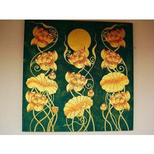 アジアンアート オリエンタルモダン絵画 蓮 壁飾り  アートフレーム タイアート|store-monsoon|02