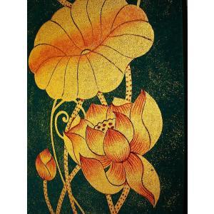 アジアンアート オリエンタルモダン絵画 蓮 壁飾り  アートフレーム タイアート|store-monsoon|04