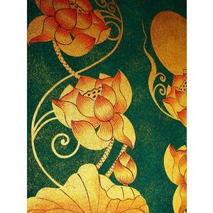 アジアンアート オリエンタルモダン絵画 蓮 壁飾り  アートフレーム タイアート|store-monsoon|06