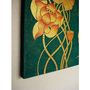 アジアンアート オリエンタルモダン絵画 蓮 壁飾り  アートフレーム タイアート|store-monsoon|07