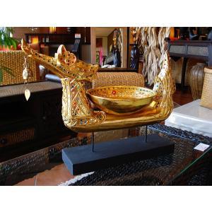 タイ オブジェ(ゴールド)  インテリア アジアン雑貨 置物 彫刻 鐘付き|store-monsoon