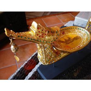 タイ オブジェ(ゴールド)  インテリア アジアン雑貨 置物 彫刻 鐘付き|store-monsoon|02
