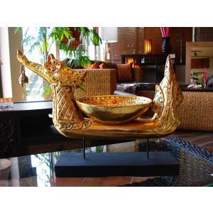 タイ オブジェ(ゴールド)  インテリア アジアン雑貨 置物 彫刻 鐘付き|store-monsoon|03