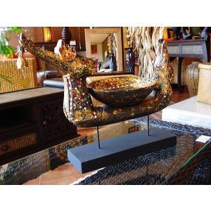 タイ オブジェ(黒×ゴールド)  インテリア アジアン雑貨 置物 彫刻 鐘付き|store-monsoon
