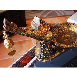タイ オブジェ(黒×ゴールド)  インテリア アジアン雑貨 置物 彫刻 鐘付き|store-monsoon|02