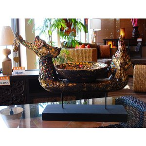 タイ オブジェ(黒×ゴールド)  インテリア アジアン雑貨 置物 彫刻 鐘付き|store-monsoon|03