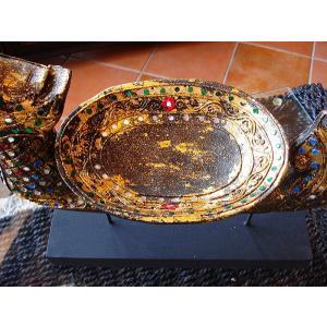 タイ オブジェ(黒×ゴールド)  インテリア アジアン雑貨 置物 彫刻 鐘付き|store-monsoon|04