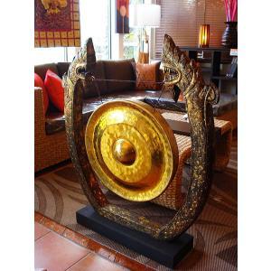 銅鑼オブジェ ゴング (直径50cm) 台座付き バチ付き タイ 置物 アジアンインテリア アジアン雑貨 楽器  |store-monsoon|02