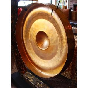 銅鑼オブジェ ゴング (直径50cm) 台座付き バチ付き タイ 置物 アジアンインテリア アジアン雑貨 楽器  |store-monsoon|06