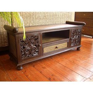 アジアン家具 TVボード テレビボード(W120) 木製家具 ローボード 彫刻 オリエンタル エスニック タイ バリ|store-monsoon