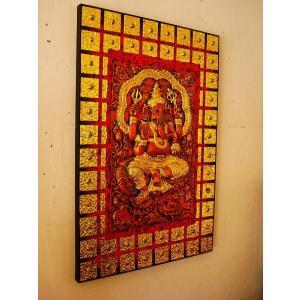 ガネーシャ インド エスニック アジアンアート オリエンタルモダン絵画 アートフレーム 壁飾り  タイアート |store-monsoon