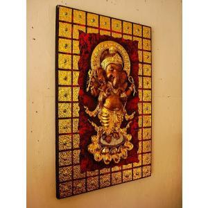 ガネーシャ インド エスニック アジアンアート オリエンタルモダン絵画 アートフレーム 壁飾り  タイアート|store-monsoon