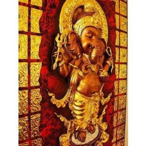 ガネーシャ インド エスニック アジアンアート オリエンタルモダン絵画 アートフレーム 壁飾り  タイアート|store-monsoon|03