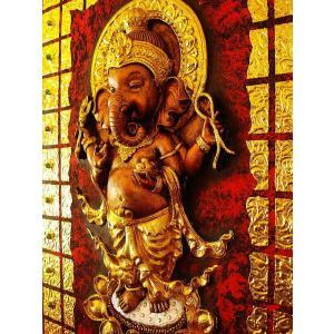 ガネーシャ インド エスニック アジアンアート オリエンタルモダン絵画 アートフレーム 壁飾り  タイアート|store-monsoon|04
