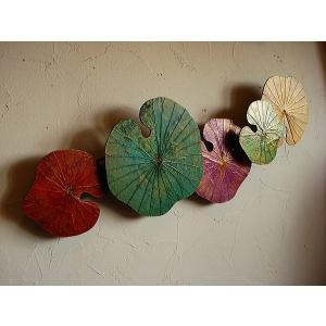 ロータスオブジェ 壁掛け 和風オブジェ アジアンインテリア アジアンアート 店舗ディスプレイ|store-monsoon