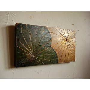 蓮の葉アート アジアンアート ロータスアートフレーム 25×48  壁飾り 絵画  和風絵画 店舗ディスプレイ|store-monsoon
