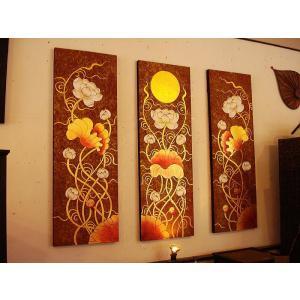 アジアンアート オリエンタル絵画 アートパネル アートフレーム アジアン絵画 蓮 壁飾り  タイ|store-monsoon