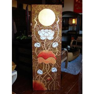 アジアンアート オリエンタル絵画 アートパネル アートフレーム アジアン絵画 蓮 壁飾り  タイ|store-monsoon|02