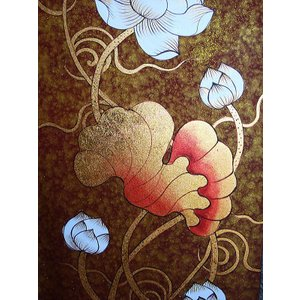 アジアンアート オリエンタル絵画 アートパネル アートフレーム アジアン絵画 蓮 壁飾り  タイ|store-monsoon|06