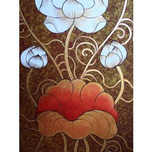 アジアンアート オリエンタル絵画 アートパネル アートフレーム アジアン絵画 蓮 壁飾り  タイ|store-monsoon|07