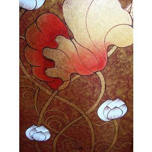 アジアンアート オリエンタル絵画 アートパネル アートフレーム アジアン絵画 蓮 壁飾り  タイ|store-monsoon|08