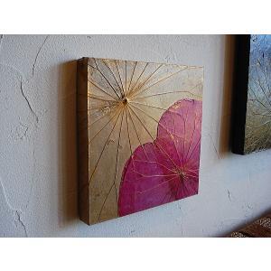 蓮の葉アート アジアンアート ロータスアートフレーム30×30  壁飾り 絵画  和風絵画 店舗ディスプレイ|store-monsoon