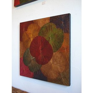 蓮の葉アート アジアンアート ロータスアートフレーム 80×80  壁飾り 絵画 和風絵画 店舗ディスプレイ|store-monsoon