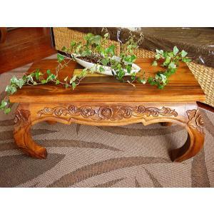 ローテーブル 彫刻入り オピウムテーブル センターテーブル 無垢材 アジアン家具 サイドテーブル 座卓 木製  |store-monsoon