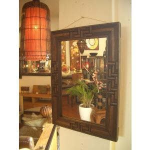 鏡  ミラー 天然木 木製 無垢 壁掛け  アジアンインテリア アジアン雑貨 store-monsoon