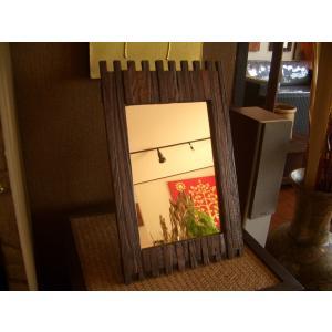 鏡  ミラー 卓上 木製 壁掛け  アジアンインテリア アジアン雑貨|store-monsoon