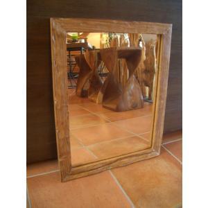 鏡  ミラー 天然木 木製 無垢 壁掛け  アジアンインテリア アジアン雑貨|store-monsoon