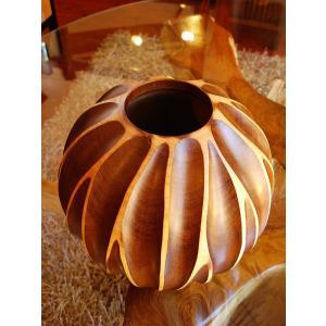木製花瓶 木製花器 アジアン雑貨 マンゴーウッド花器 オブジェ フラワーベース アジアンインテリア  |store-monsoon|03