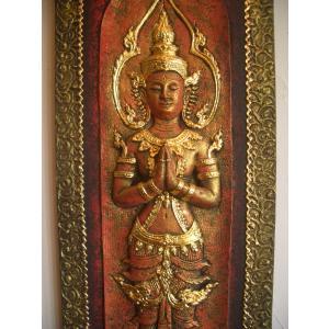 タイ仏像 Aタイプ タイオブジェ 装飾品 アジアンアート  壁飾り タイ料理店装飾 オリエンタルアート|store-monsoon|02