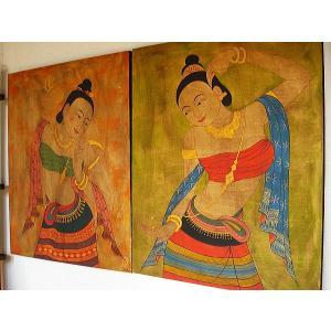 アジアンアート アジアンインテリア タイ人物画 100×80 絵画|store-monsoon|06
