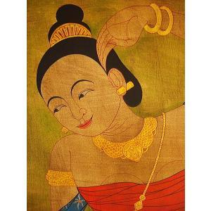 アジアンアート アジアンインテリア タイ人物画 100×80 絵画|store-monsoon|02